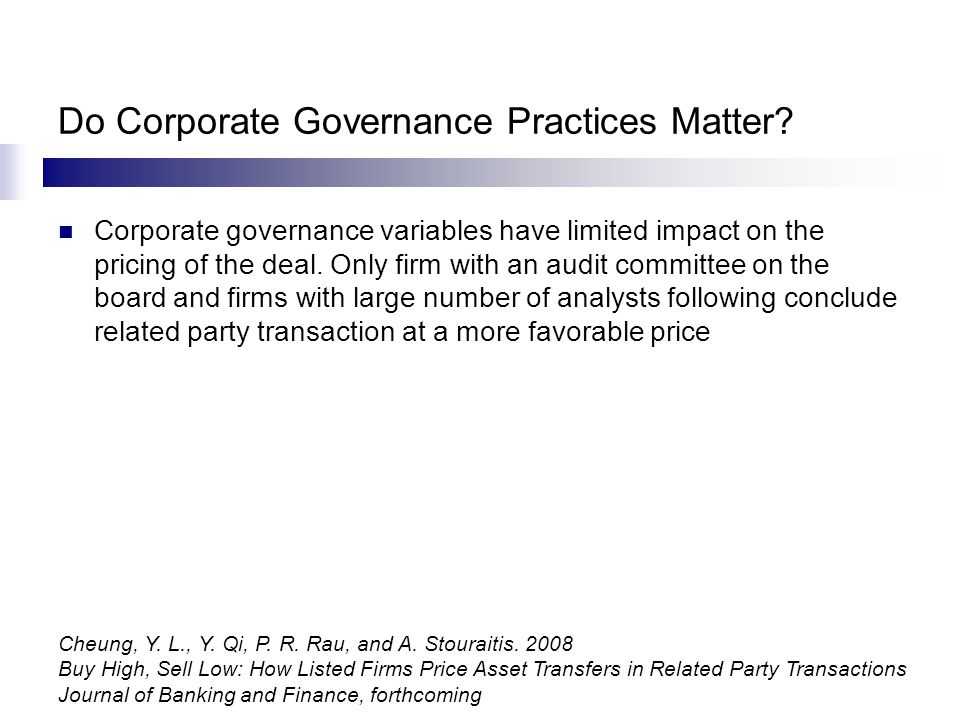 Do Corporate Governance Practices Matter.
