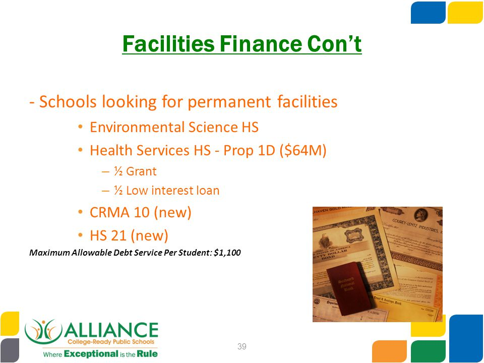 Facilities Finance Con't - Schools looking for permanent facilities Environmental Science HS Health Services HS - Prop 1D ($64M) – ½ Grant – ½ Low int