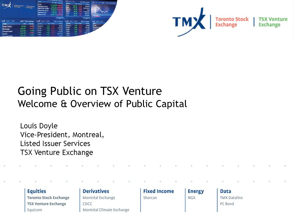 Louis Doyle Vice-President, Montreal, Listed Issuer Services TSX Venture Exchange Going Public on TSX Venture Welcome & Overview of Public Capital