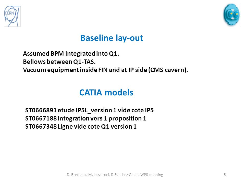 Baseline lay-out Assumed BPM integrated into Q1. Bellows between Q1-TAS.
