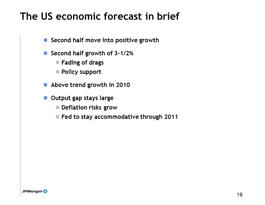 19 The US economic forecast in brief Second half move into positive growth Second half growth of 3-1/2% Fading of drags Policy support Above trend growth in 2010 Output gap stays large Deflation risks grow Fed to stay accommodative through 2011