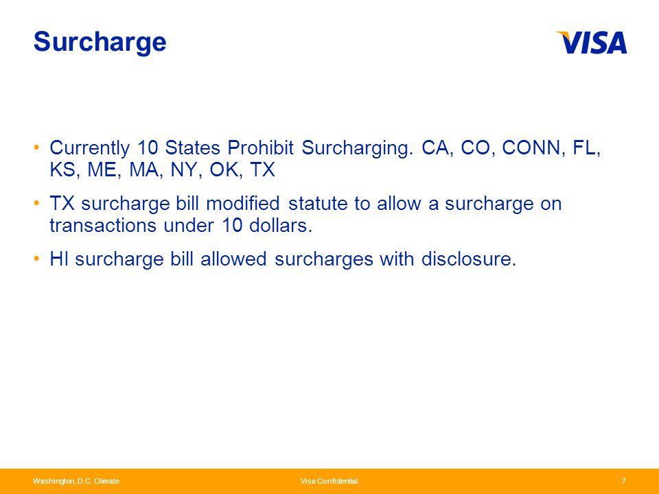 Washington, D.C. Climate Visa Confidential7 Surcharge Currently 10 States Prohibit Surcharging. CA, CO, CONN, FL, KS, ME, MA, NY, OK, TX TX surcharge