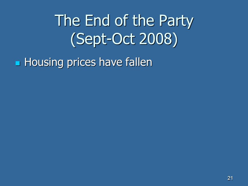 The End of the Party (Sept-Oct 2008) Housing prices have fallen Housing prices have fallen 21