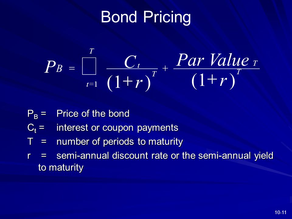 10-11 Bond Pricing P C r Par Value r B t T t T T T      () () 1 1 1 P B =Price of the bond C t = interest or coupon payments T = number of perio