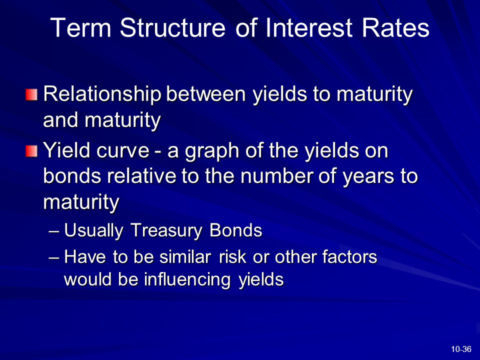 10-36 Term Structure of Interest Rates Relationship between yields to maturity and maturity Yield curve - a graph of the yields on bonds relative to t