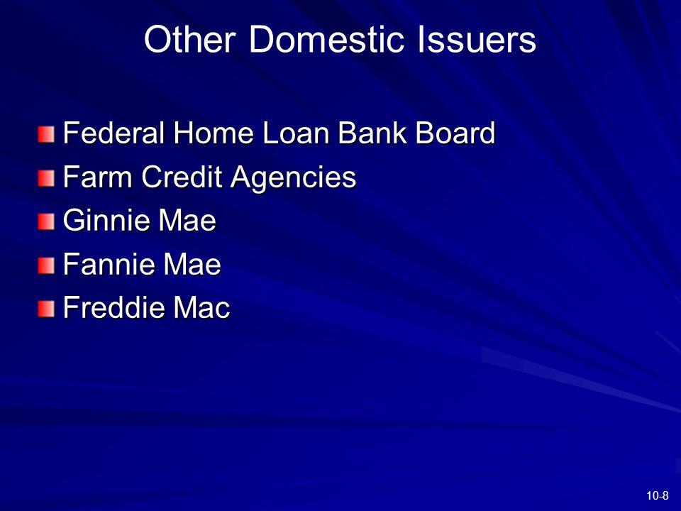 10-8 Other Domestic Issuers Federal Home Loan Bank Board Farm Credit Agencies Ginnie Mae Fannie Mae Freddie Mac