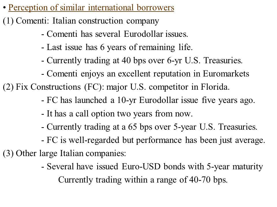 Perception of similar international borrowers (1) Comenti: Italian construction company - Comenti has several Eurodollar issues.