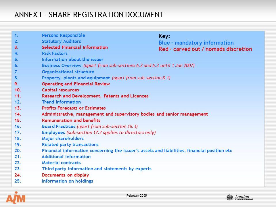 February 2005 Key: Blue – mandatory information Red – carved out / nomads discretion ANNEX I – SHARE REGISTRATION DOCUMENT 1.
