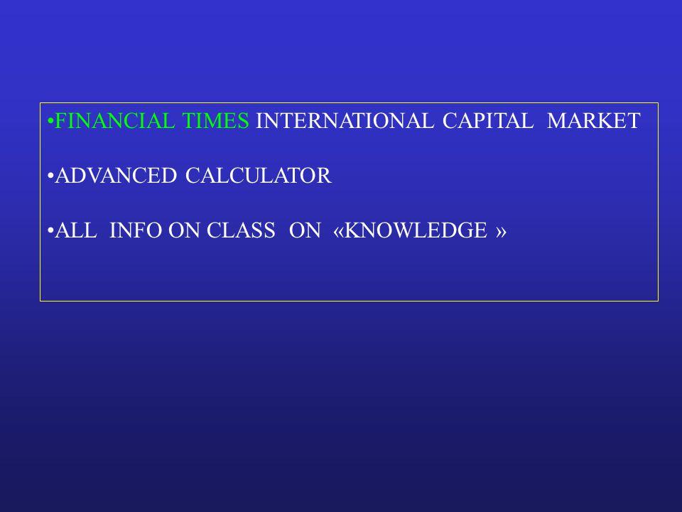 FINANCIAL TIMES INTERNATIONAL CAPITAL MARKET ADVANCED CALCULATOR ALL INFO ON CLASS ON «KNOWLEDGE »