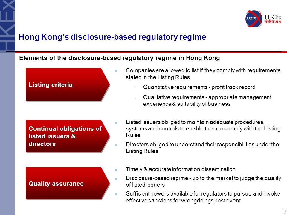 Hong Kong's disclosure-based regulatory regime Elements of the disclosure-based regulatory regime in Hong Kong Companies are allowed to list if they comply with requirements stated in the Listing Rules ­ Quantitative requirements - profit track record ­ Qualitative requirements - appropriate management experience & suitability of business Listed issuers obliged to maintain adequate procedures, systems and controls to enable them to comply with the Listing Rules Directors obliged to understand their responsibilities under the Listing Rules Timely & accurate information dissemination Disclosure-based regime - up to the market to judge the quality of listed issuers Sufficient powers available for regulators to pursue and invoke effective sanctions for wrongdoings post event Listing criteria Continual obligations of listed issuers & directors Quality assurance 7
