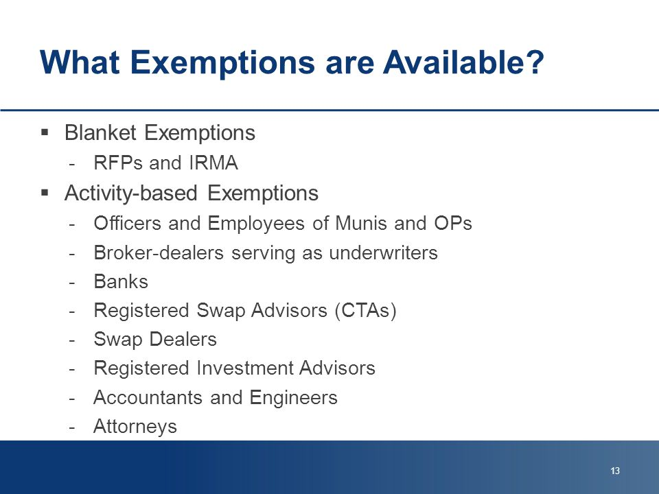 What Exemptions are Available.