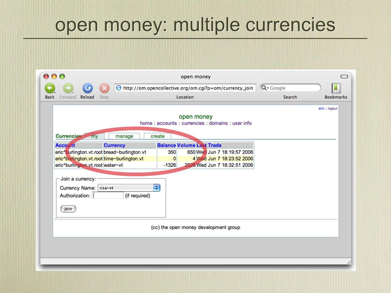 open money: multiple currencies