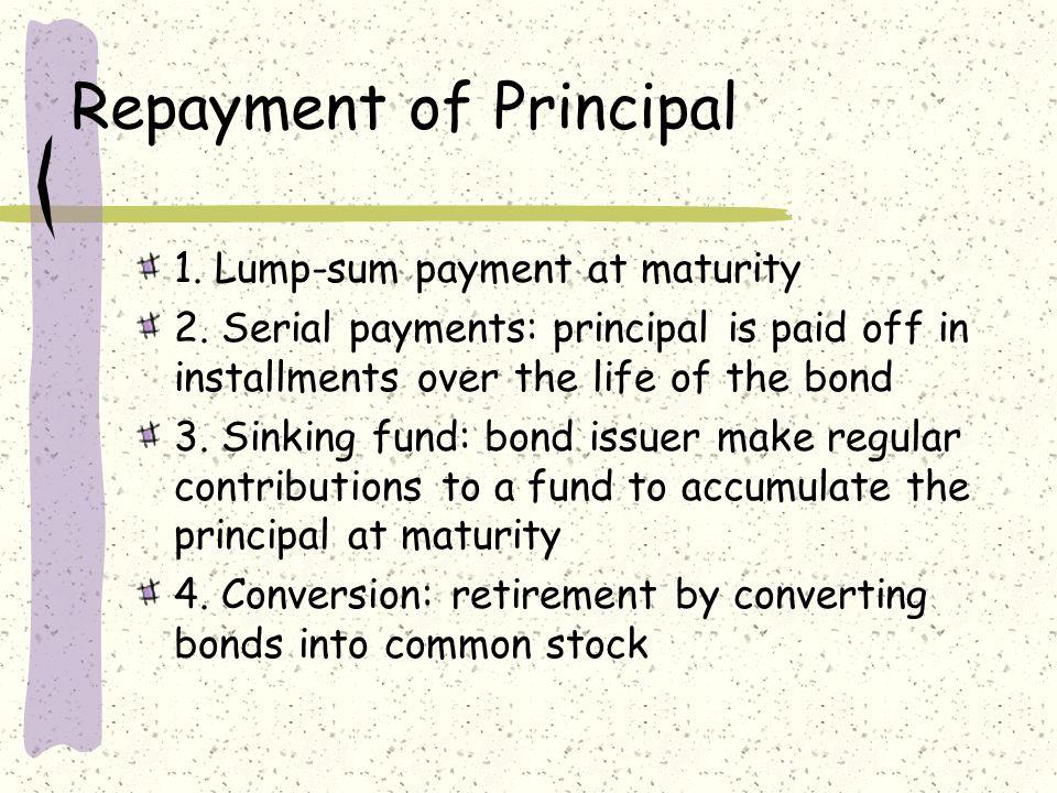 Repayment of Principal 1.Lump-sum payment at maturity 2.
