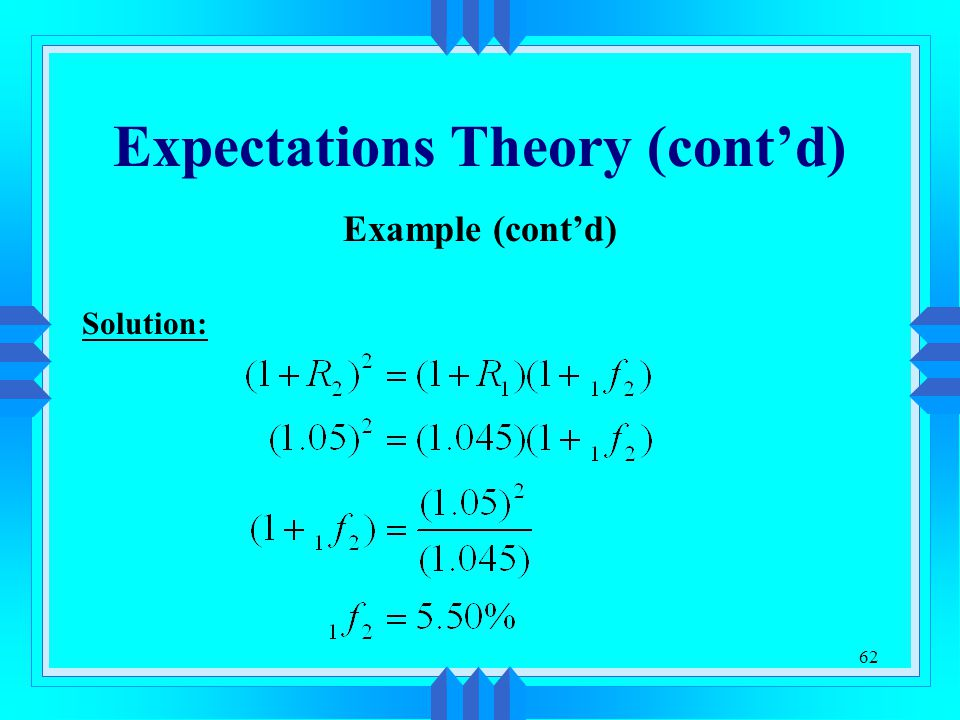 62 Expectations Theory (cont'd) Example (cont'd) Solution: