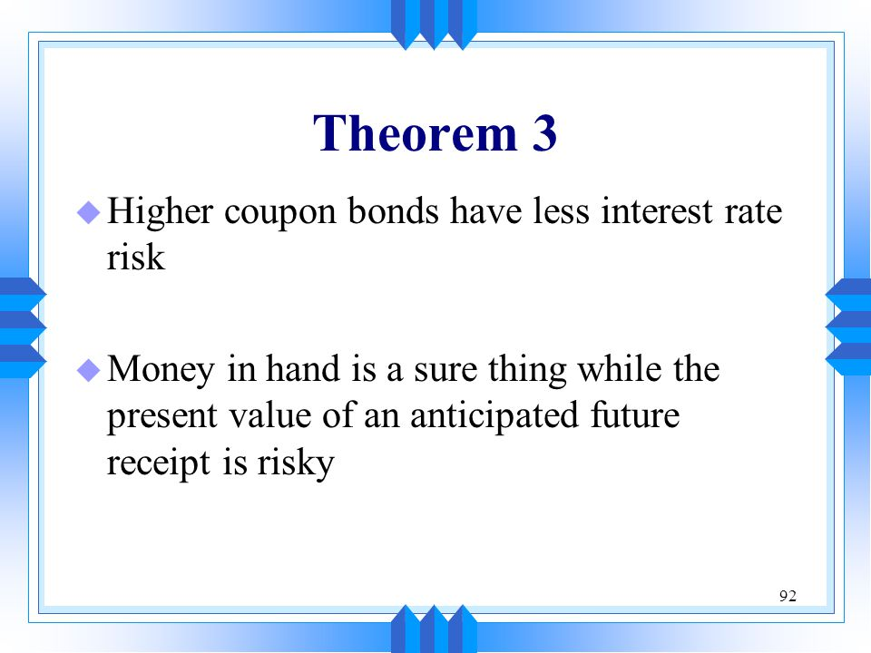 92 Theorem 3 u Higher coupon bonds have less interest rate risk u Money in hand is a sure thing while the present value of an anticipated future recei