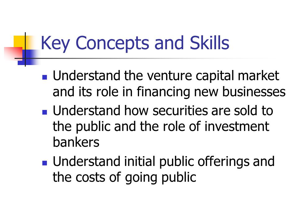 Chapter Outline The Financing Life Cycle of a Firm: Early-Stage Financing and Venture Capital Selling Securities to the Public: The Basic Procedure Alternative Issue Methods Underwriters IPOs and Underpricing