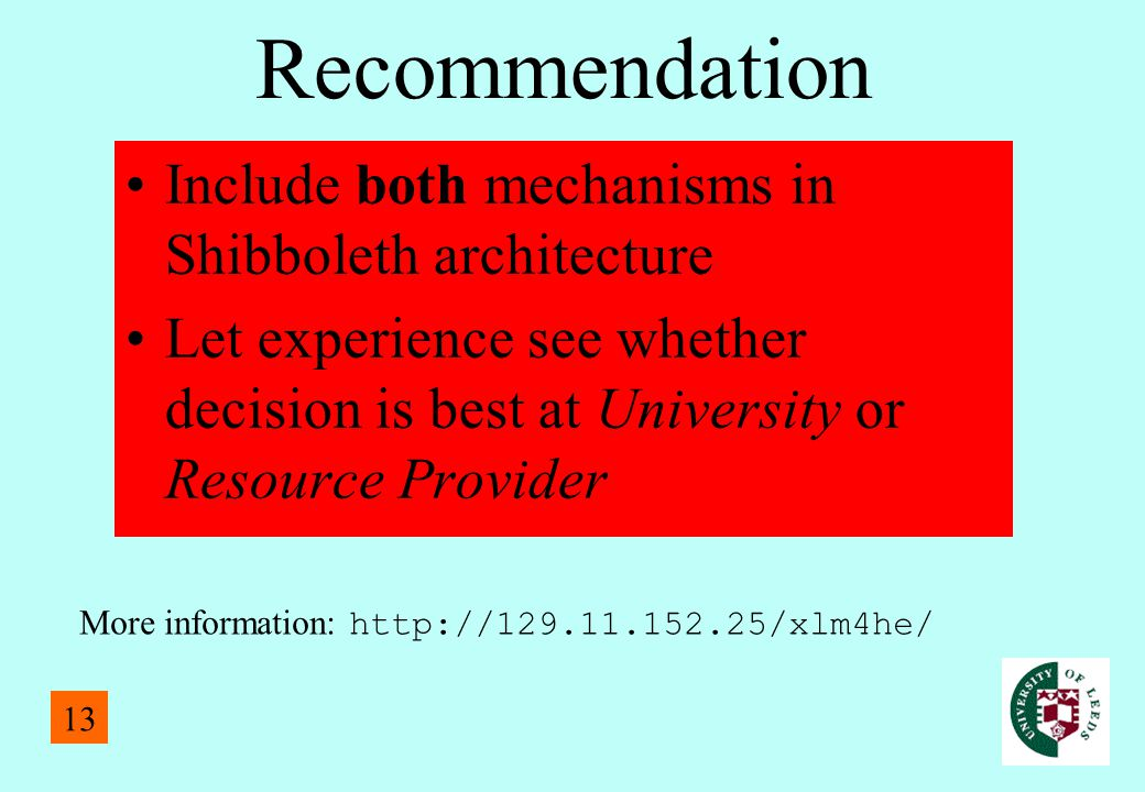Recommendation Include both mechanisms in Shibboleth architecture Let experience see whether decision is best at University or Resource Provider More