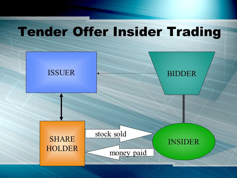 Tender Offer Insider Trading BIDDER ISSUER SHARE HOLDER stock sold money paid INSIDER