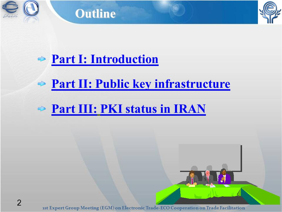1st Expert Group Meeting (EGM) on Electronic Trade-ECO Cooperation on Trade Facilitation Part I: Introduction Part II: Public key infrastructure Part III:Part III: PKI status in IRANPKI status in IRANOutline 2