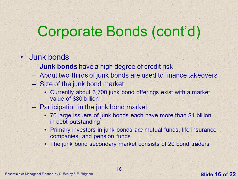 Essentials of Managerial Finance by S. Besley & E. Brigham Slide 16 of 22 16 Corporate Bonds (cont'd) Junk bonds –Junk bonds have a high degree of cre