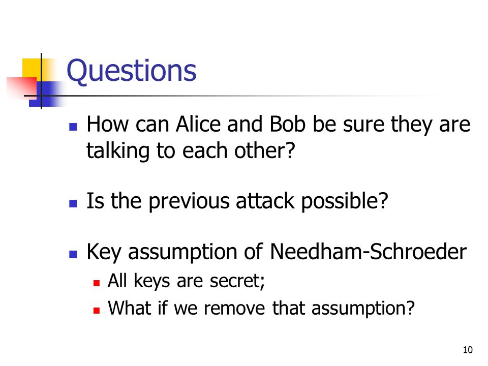10 Questions How can Alice and Bob be sure they are talking to each other.