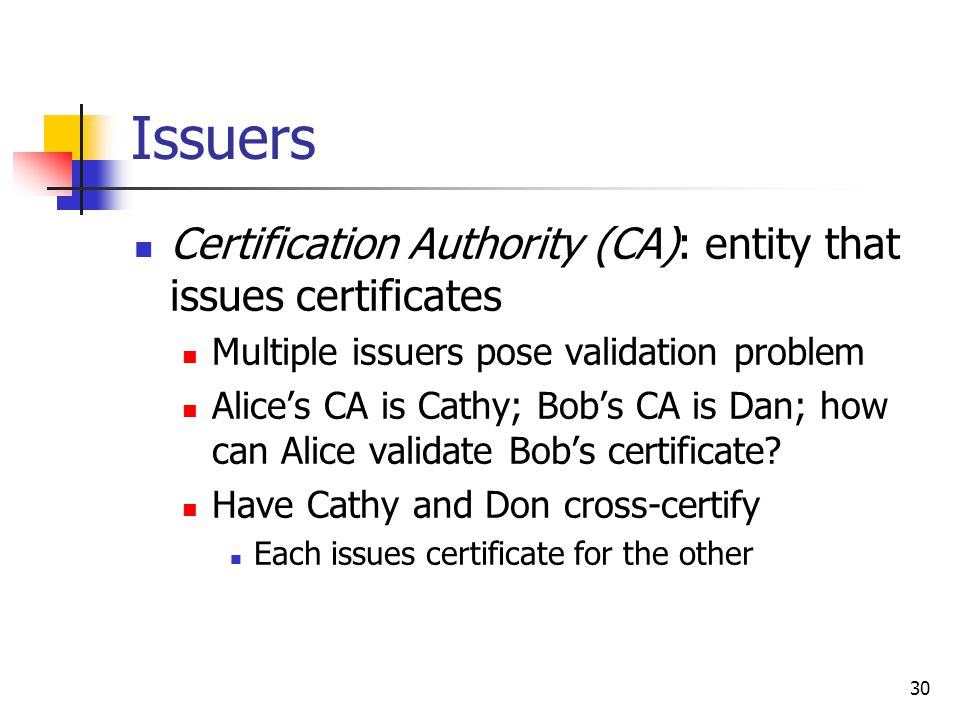 30 Issuers Certification Authority (CA): entity that issues certificates Multiple issuers pose validation problem Alice's CA is Cathy; Bob's CA is Dan; how can Alice validate Bob's certificate.