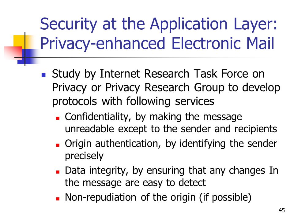 45 Security at the Application Layer: Privacy-enhanced Electronic Mail Study by Internet Research Task Force on Privacy or Privacy Research Group to develop protocols with following services Confidentiality, by making the message unreadable except to the sender and recipients Origin authentication, by identifying the sender precisely Data integrity, by ensuring that any changes In the message are easy to detect Non-repudiation of the origin (if possible)