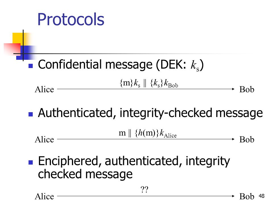 48 Protocols Confidential message (DEK: k s ) Authenticated, integrity-checked message Enciphered, authenticated, integrity checked message AliceBob {m}k s || {k s }k Bob AliceBob m || {h(m)}k Alice AliceBob ??