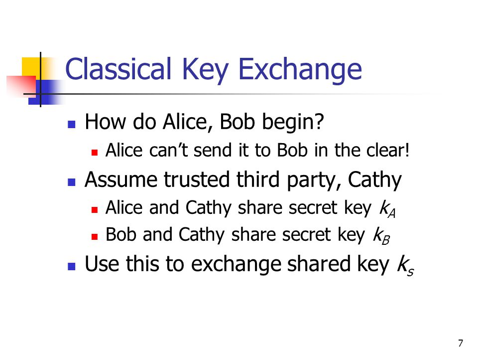7 Classical Key Exchange How do Alice, Bob begin. Alice can't send it to Bob in the clear.