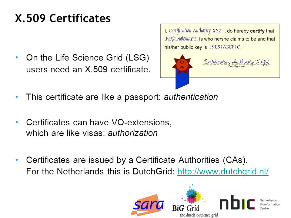 X.509 Certificates On the Life Science Grid (LSG) users need an X.509 certificate.