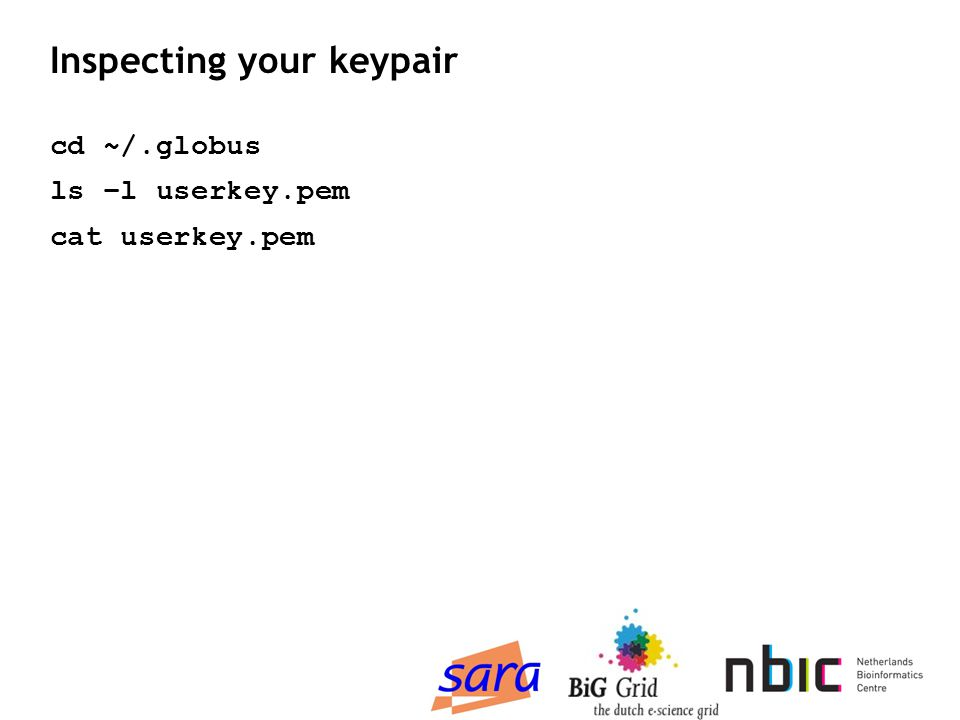 Inspecting your keypair cd ~/.globus ls –l userkey.pem cat userkey.pem