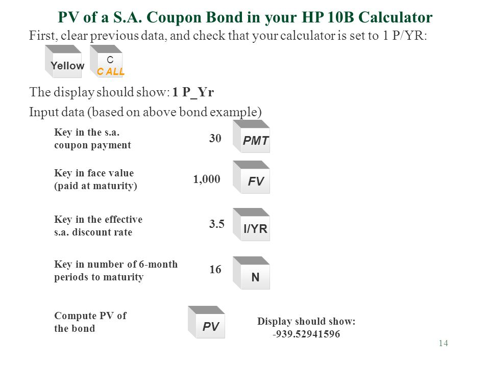 14 First, clear previous data, and check that your calculator is set to 1 P/YR: The display should show: 1 P_Yr Input data (based on above bond example) PV of a S.A.