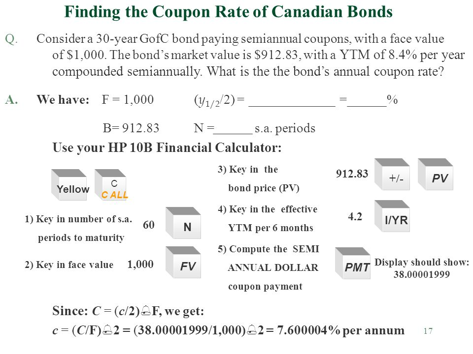 17 Finding the Coupon Rate of Canadian Bonds Q.Consider a 30-year GofC bond paying semiannual coupons, with a face value of $1,000.