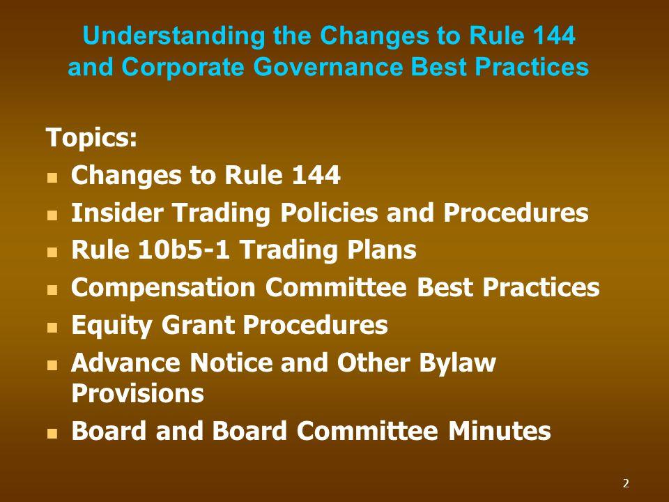 Rule 10b5-1 Trading Plans 13
