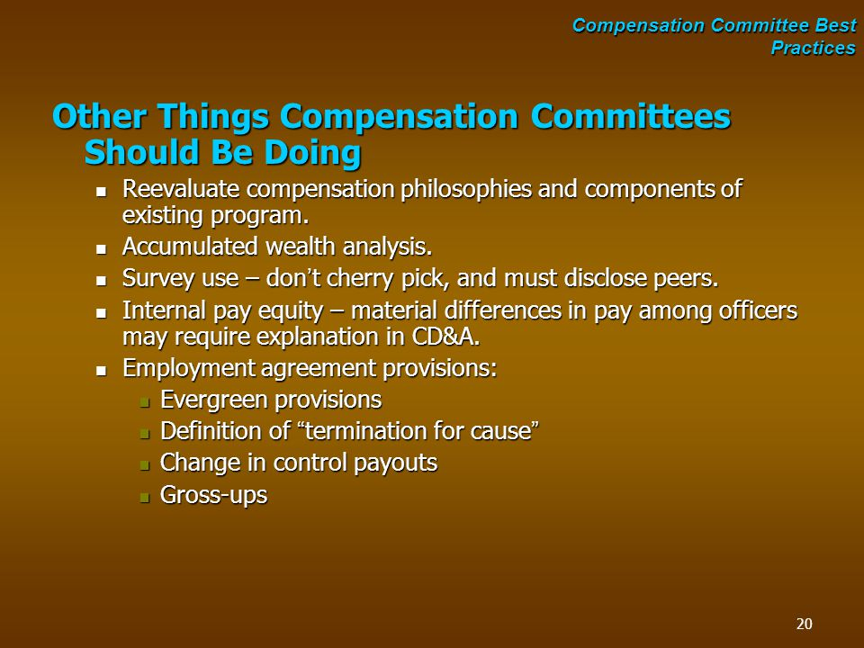 Other Things Compensation Committees Should Be Doing Reevaluate compensation philosophies and components of existing program. Reevaluate compensation
