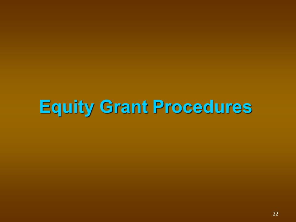 Equity Grant Procedures 22