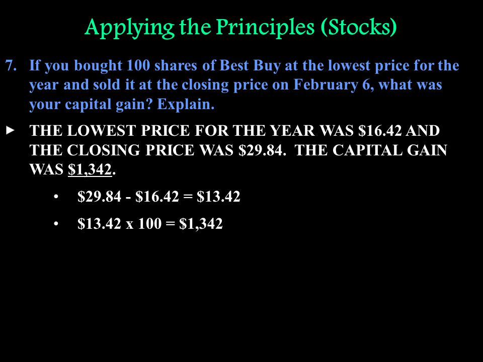 Applying the Principles (Stocks) 7.If you bought 100 shares of Best Buy at the lowest price for the year and sold it at the closing price on February