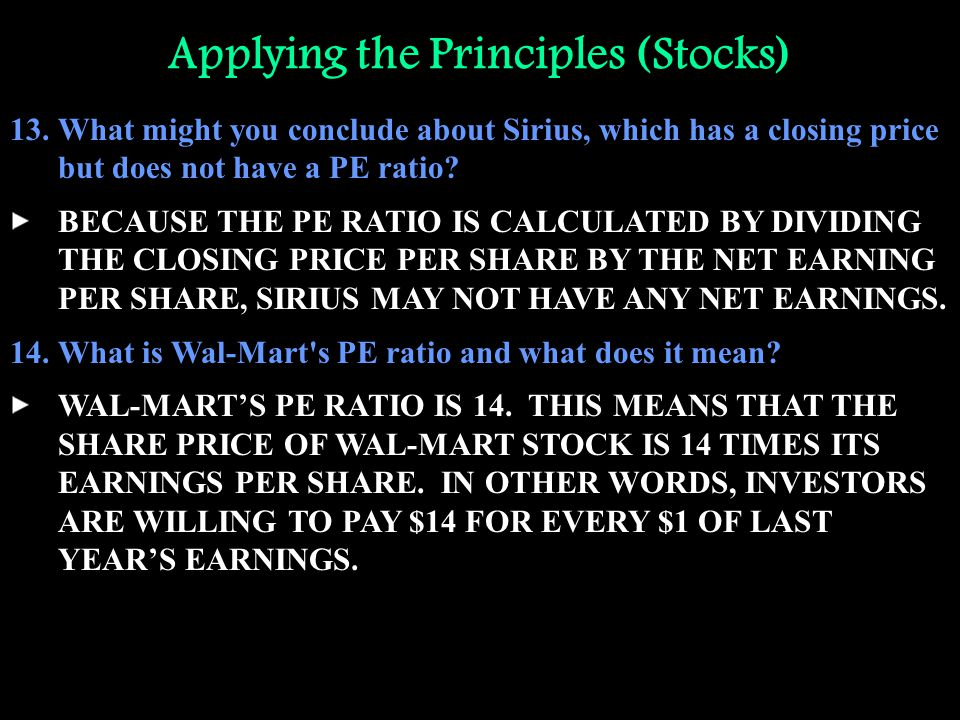 Applying the Principles (Stocks) 13.What might you conclude about Sirius, which has a closing price but does not have a PE ratio? BECAUSE THE PE RATIO