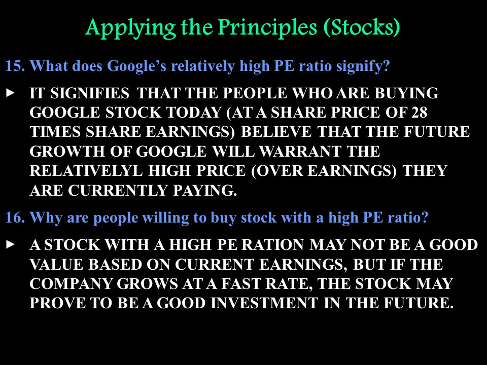 Applying the Principles (Stocks) 15.What does Google's relatively high PE ratio signify? IT SIGNIFIES THAT THE PEOPLE WHO ARE BUYING GOOGLE STOCK TODA