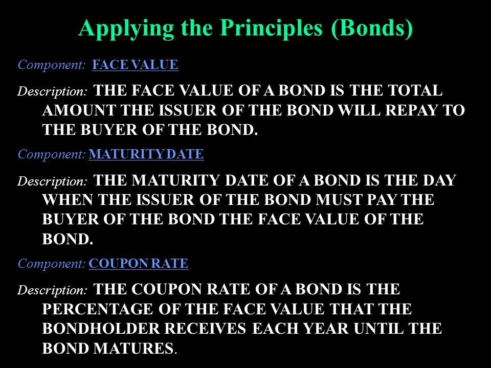 Applying the Principles (Bonds) Component: FACE VALUE Description: THE FACE VALUE OF A BOND IS THE TOTAL AMOUNT THE ISSUER OF THE BOND WILL REPAY TO T