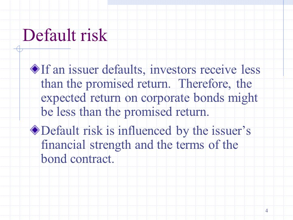 4 Default risk If an issuer defaults, investors receive less than the promised return.