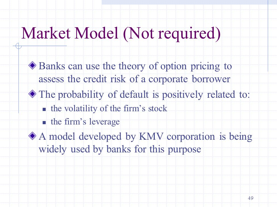 49 Market Model (Not required) Banks can use the theory of option pricing to assess the credit risk of a corporate borrower The probability of default is positively related to: the volatility of the firm's stock the firm's leverage A model developed by KMV corporation is being widely used by banks for this purpose
