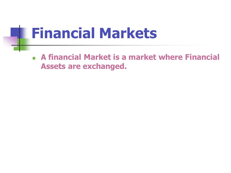 A financial Market is a market where Financial Assets are exchanged.