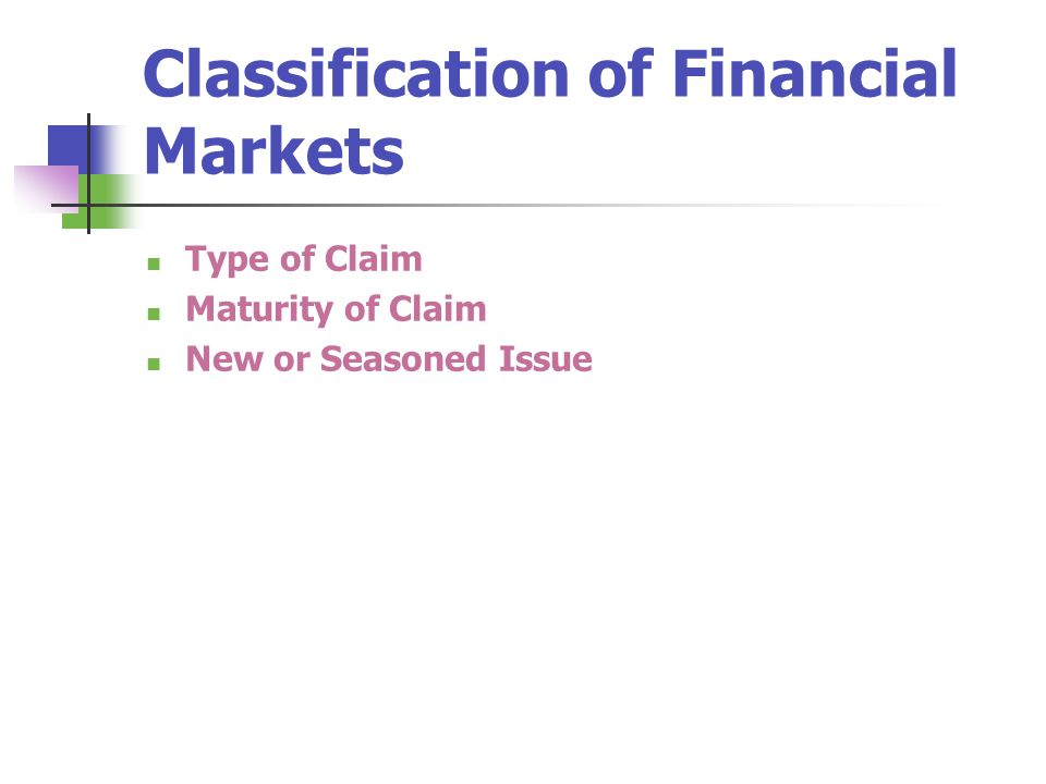 Classification of Financial Markets Type of Claim Maturity of Claim New or Seasoned Issue