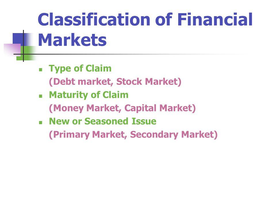 Classification of Financial Markets Type of Claim (Debt market, Stock Market) Maturity of Claim (Money Market, Capital Market) New or Seasoned Issue (