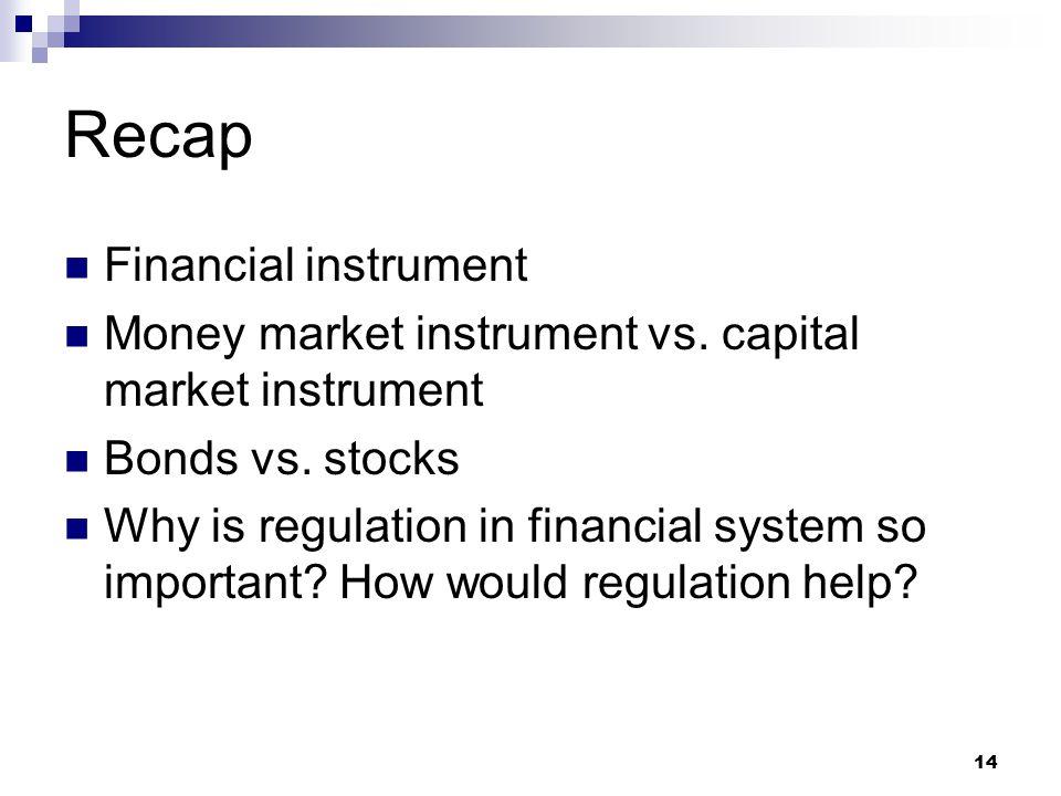 14 Recap Financial instrument Money market instrument vs. capital market instrument Bonds vs. stocks Why is regulation in financial system so importan