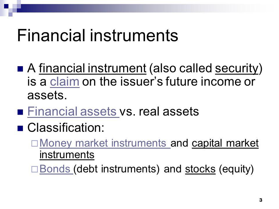 14 Recap Financial instrument Money market instrument vs.