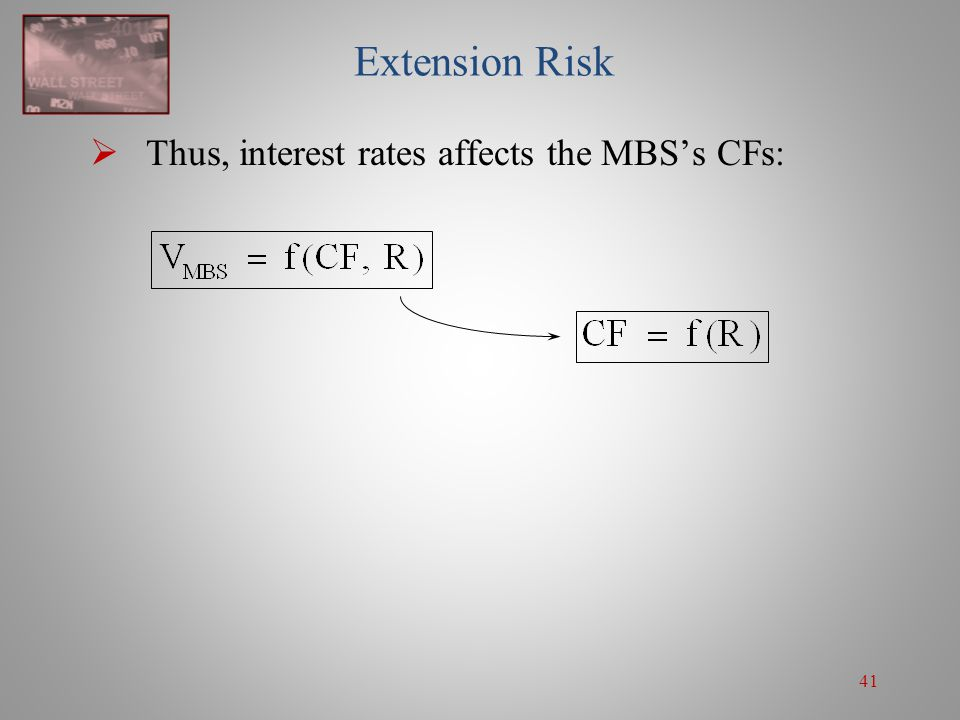 41 Extension Risk  Thus, interest rates affects the MBS's CFs: