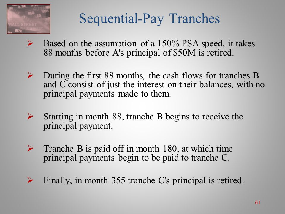 61 Sequential-Pay Tranches  Based on the assumption of a 150% PSA speed, it takes 88 months before A's principal of $50M is retired.  During the fir