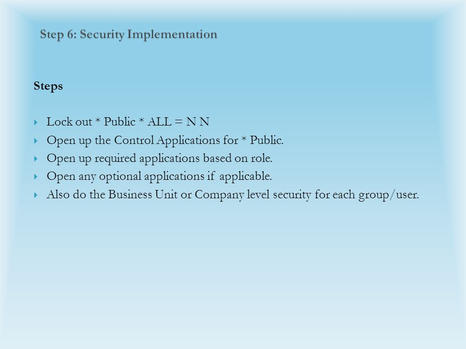 Steps  Lock out * Public * ALL = N N  Open up the Control Applications for * Public.